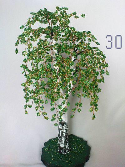 berezka-gotova Ива с тонкими листочками из бисера