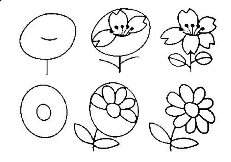 cveti-dlya-albomov-poyetapno Красивые и легкие рисунки для срисовки карандашом поэтапно для начинающих. Красивые и легкие рисунки по клеточкам для срисовки в тетради и личном дневнике для девочек и мальчиков