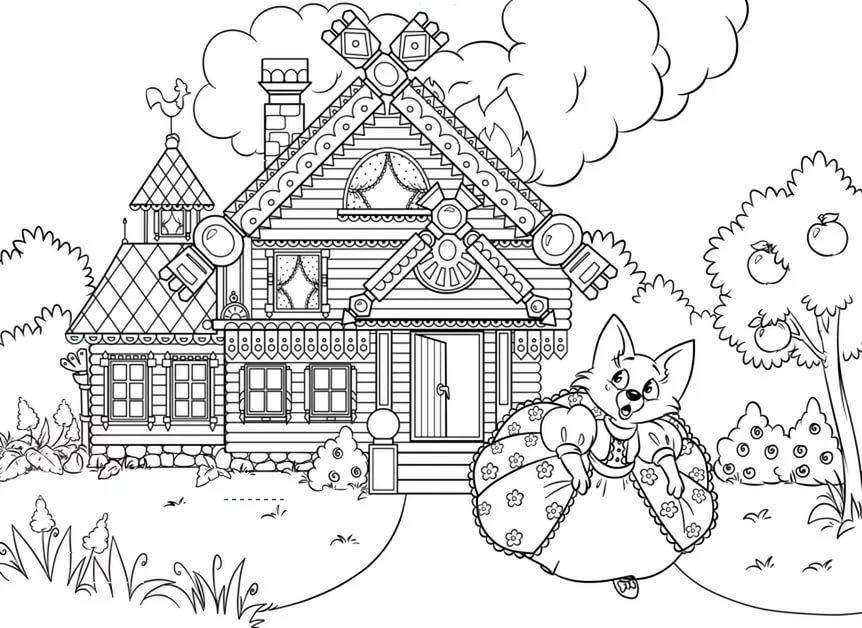 Картинки карандашом кошкин дом
