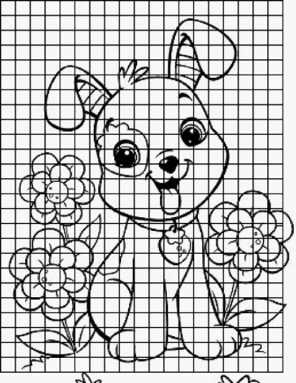 sobaka-dlya-srisovki-po-kletochkam Красивые и легкие рисунки для срисовки карандашом поэтапно для начинающих. Красивые и легкие рисунки по клеточкам для срисовки в тетради и личном дневнике для девочек и мальчиков