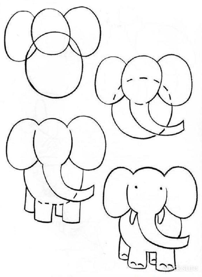 foto10 Как нарисовать слона поэтапно: 5 вариантов как легко и просто нарисовать слона карандашом