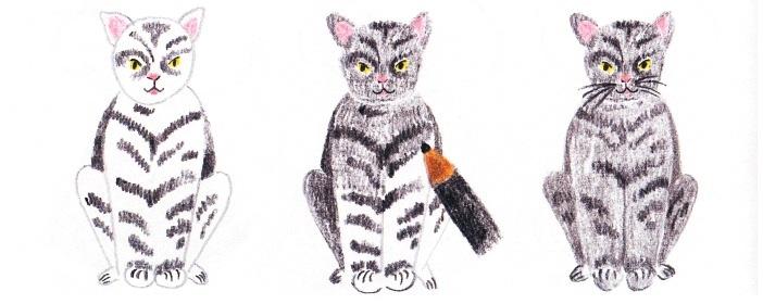 Как нарисовать сидящую кошку: основной рисунок