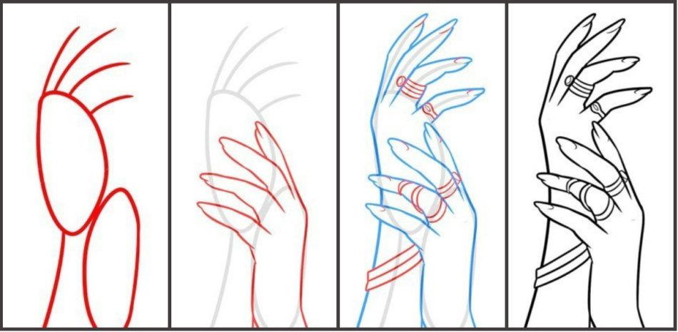 ruki-zhenshini-poyetapno Как рисовать ноги человека? Подробно рассмотрим строение и технику рисования