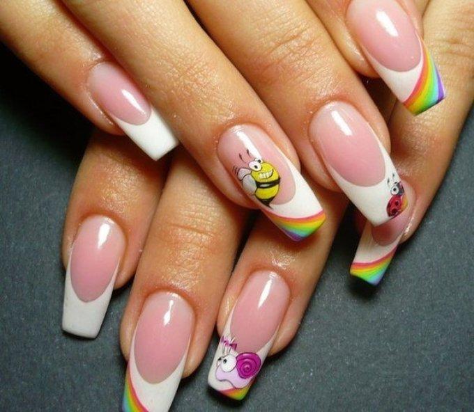 Яркие летние рисунки на ногтях