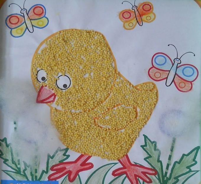 ciplenok-iz-pshonki Аппликации из цветной бумаги шаблоны распечатать для детей 2-3, 4-5, 6-7 лет. Фото. тема осень, зима, весна