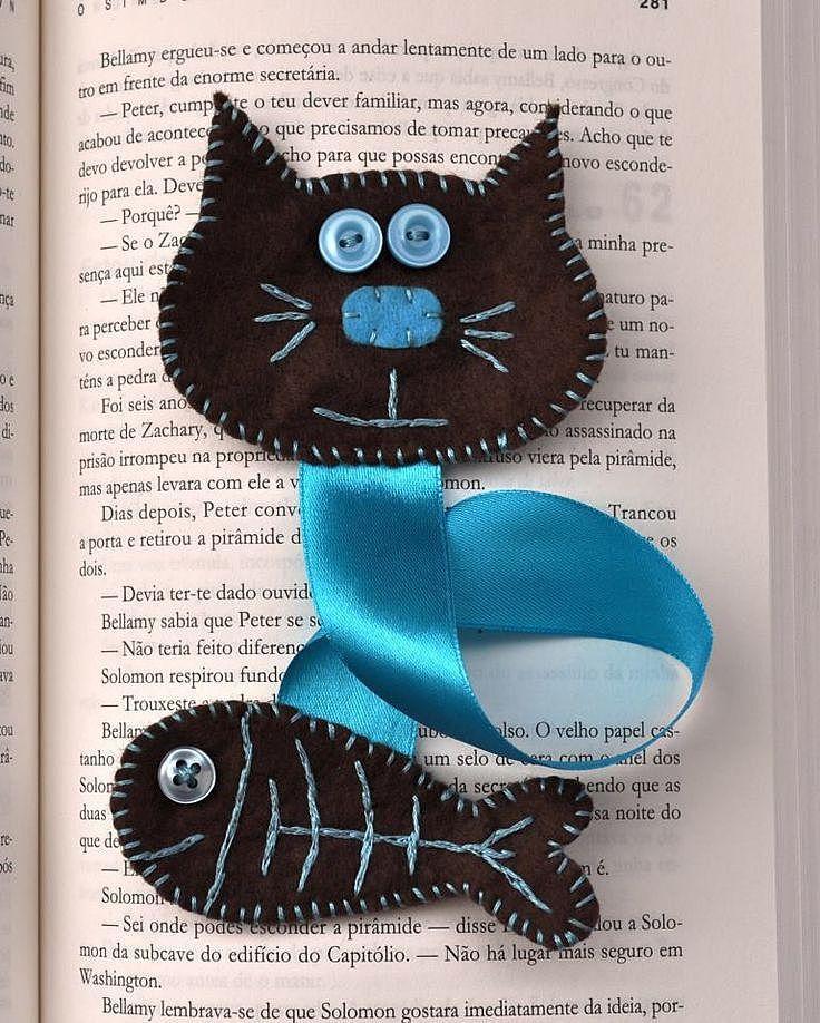 zakladka-lentochnaya-v-vide-kota-i-ribki Закладка-уголок из бумаги для книг (оригами): как сделать своими руками