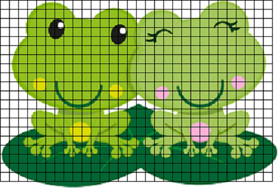 lyagushata-dlya-srisovki-po-kletochkam Красивые и легкие рисунки для срисовки карандашом поэтапно для начинающих. Красивые и легкие рисунки по клеточкам для срисовки в тетради и личном дневнике для девочек и мальчиков