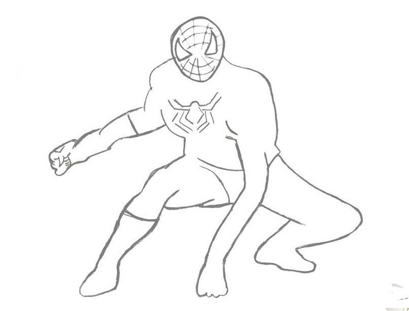 рисунок человека паука карандашом в полный рост поэтапно могут выработать