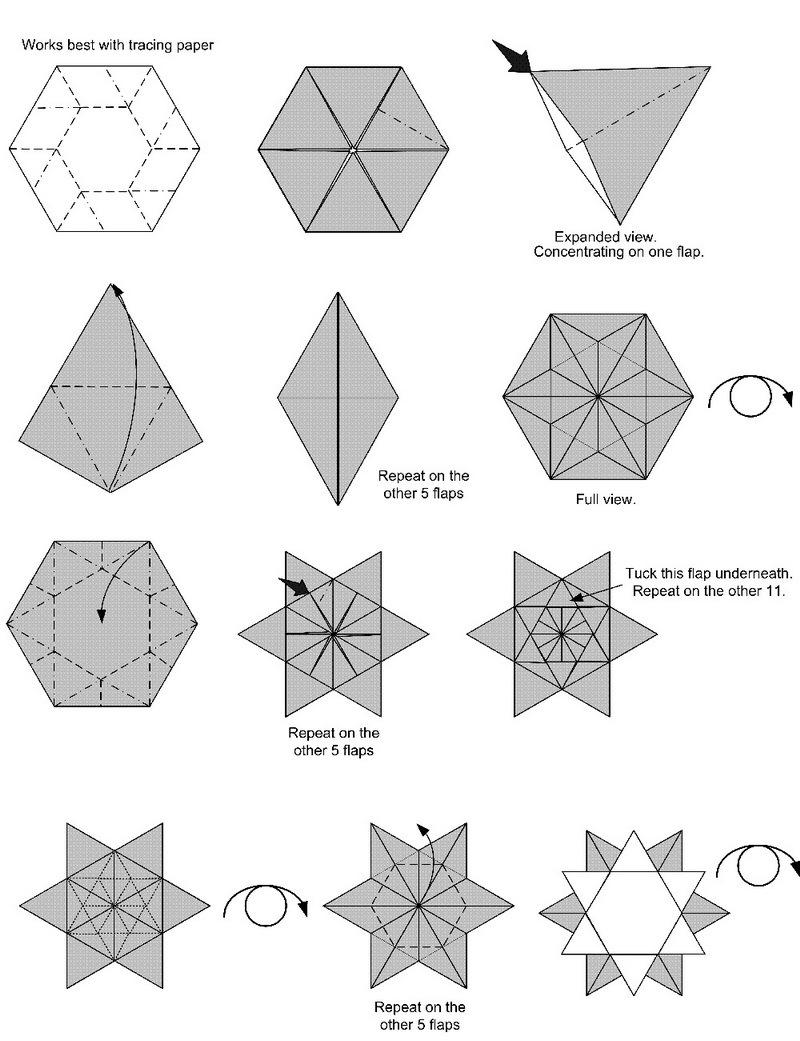 shema-sozdaniya-snezhinki-v-tehnike-origami Как вырезать красивые снежинки из бумаги своими руками поэтапно? Как сделать объёмную снежинку оригами?