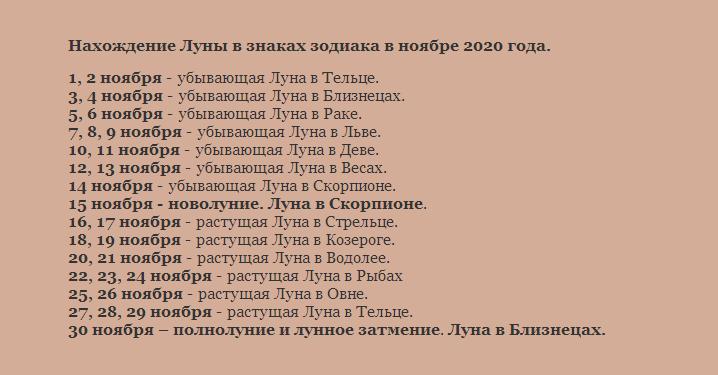 Лунный календарь 2020 года на ноябрь