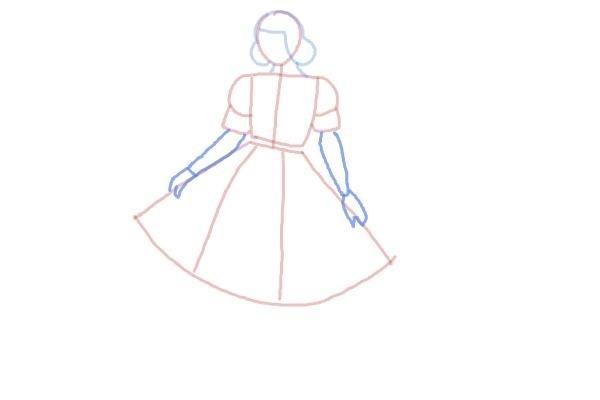 prostoi-risunok-zhenshini-v-odezhde-shag-5 Как рисовать ноги человека? Подробно рассмотрим строение и технику рисования