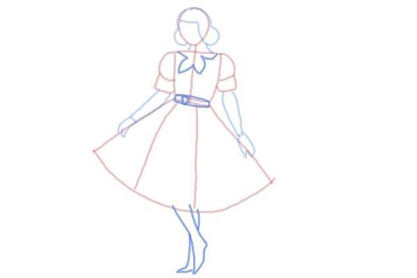 prostoi-risunok-zhenshini-v-odezhde-shag-6 Как рисовать ноги человека? Подробно рассмотрим строение и технику рисования