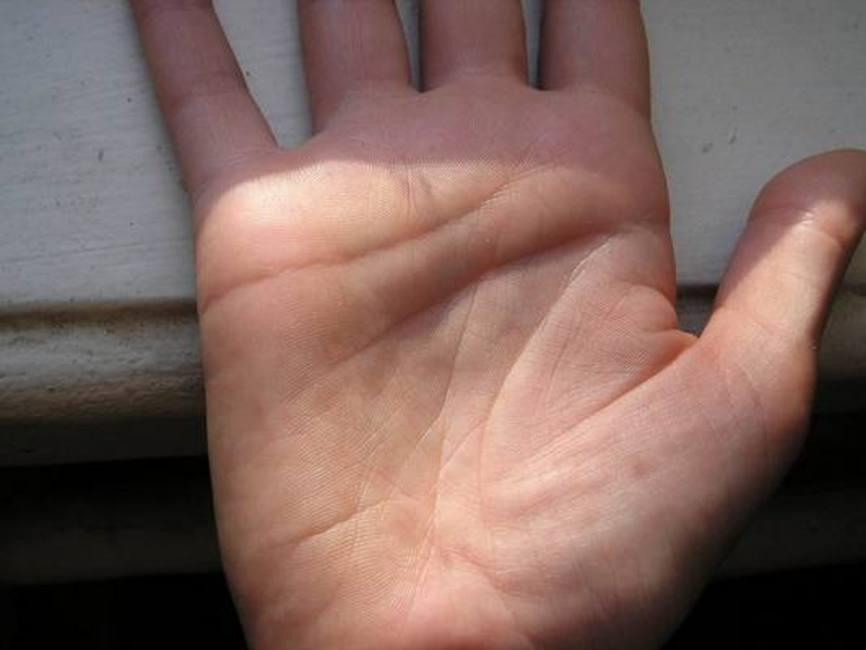 Линия судьбы начинается от запястья и идёт к среднему пальцу