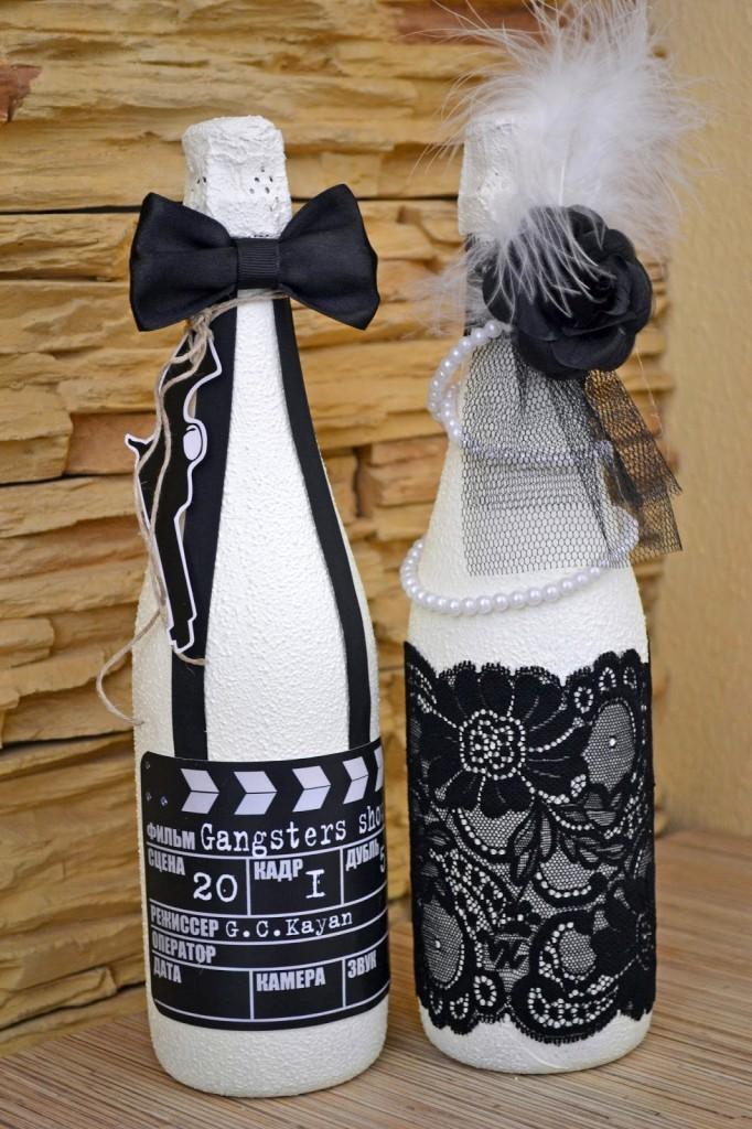 neobichnie-butilki-po-tehnike-dekupazh-v-stile-zheniha-i-nevesti Декупаж бутылки шампанского: свадебные своими руками, пошаговое фото, технику как сделать, МК как украсить