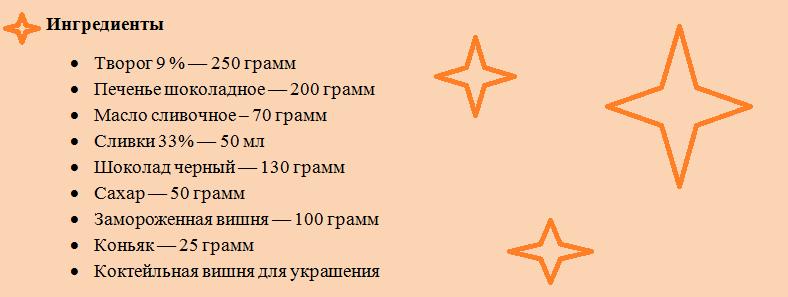 Ингредиенты для миничизкейка