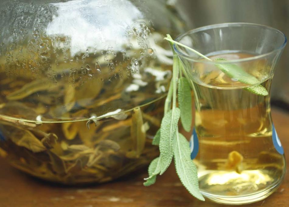 Настой из травы шалфея используется для снижения потоотделения в виде ножных ванн и при приеме внутрь