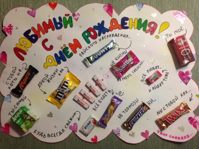 доска с конфетами и поздравлением картинки тегом солнечные
