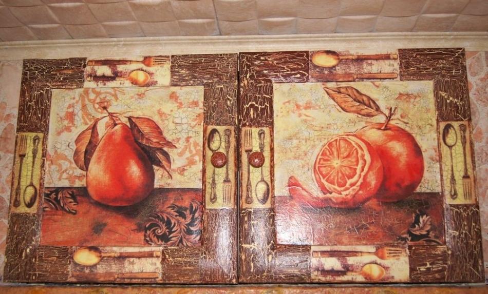 dekupazh-antresoli Декупаж старого шкафа своими руками фото: кухонный мастер-класс, как сделать оформление двери шкафчика