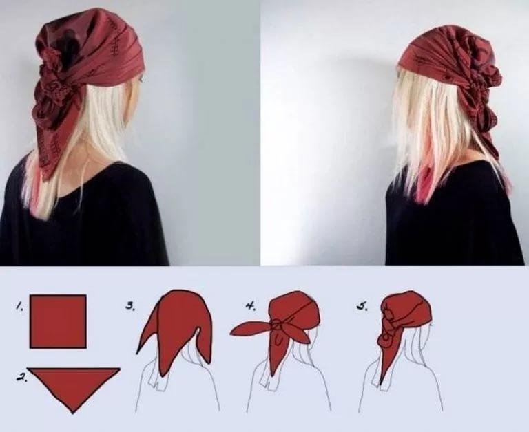 piratka Как красиво завязать на голову шарф разными способами? Как красиво и стильно завязать шарф на голове летом, с пальто, мусульманке?