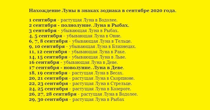 Лунный календарь 2020 года на сентябрь