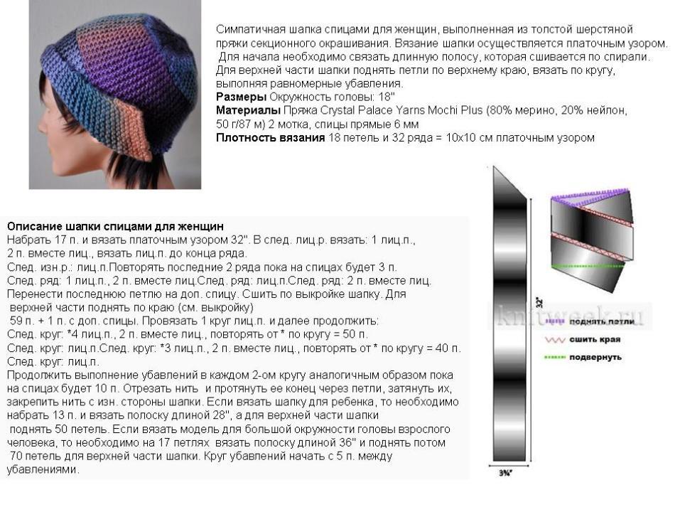 Описание вязания над шапкой с отворотом платочной вязкой, пример 1
