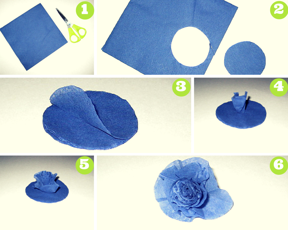 Как сделать цветочки из салфеток