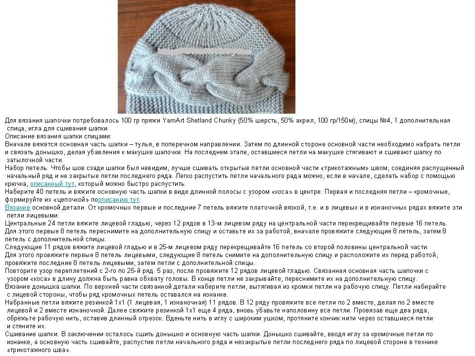 описания и спицами шапки вязание схемы