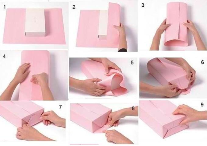 shema-upakovivaniya-podarka Как упаковать подарок своими руками