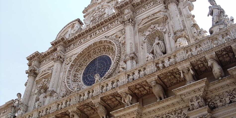 Церковь святого креста в лечче, апулия, италия