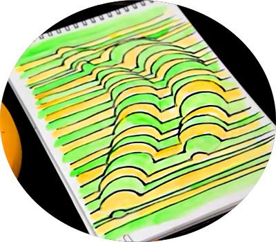 zakrashivaem-zelenim-cvetom-ostavshiesya-polosi Как нарисовать 3д (3d) рисунок на бумаге карандашом