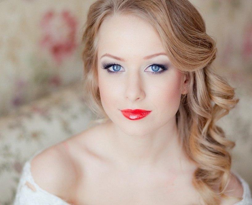 Макияж на свадьбу для синих глаз