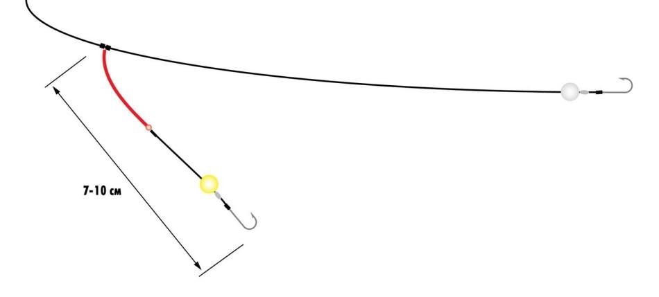 Поводок с двумя крючками