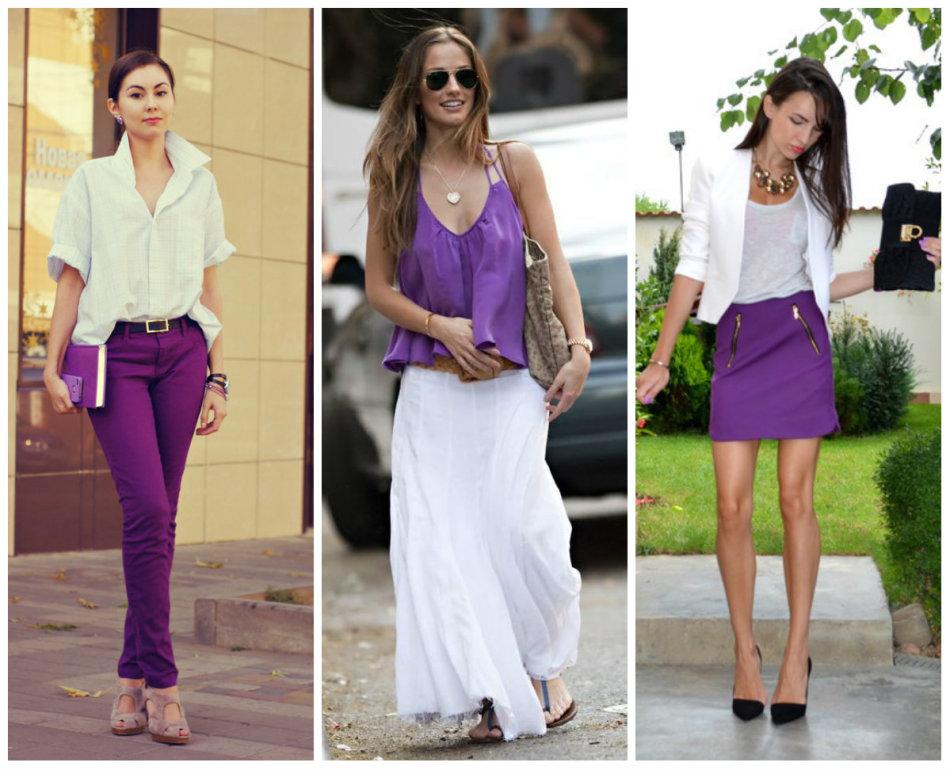 Двухцветный образ: белый и фиолетовый