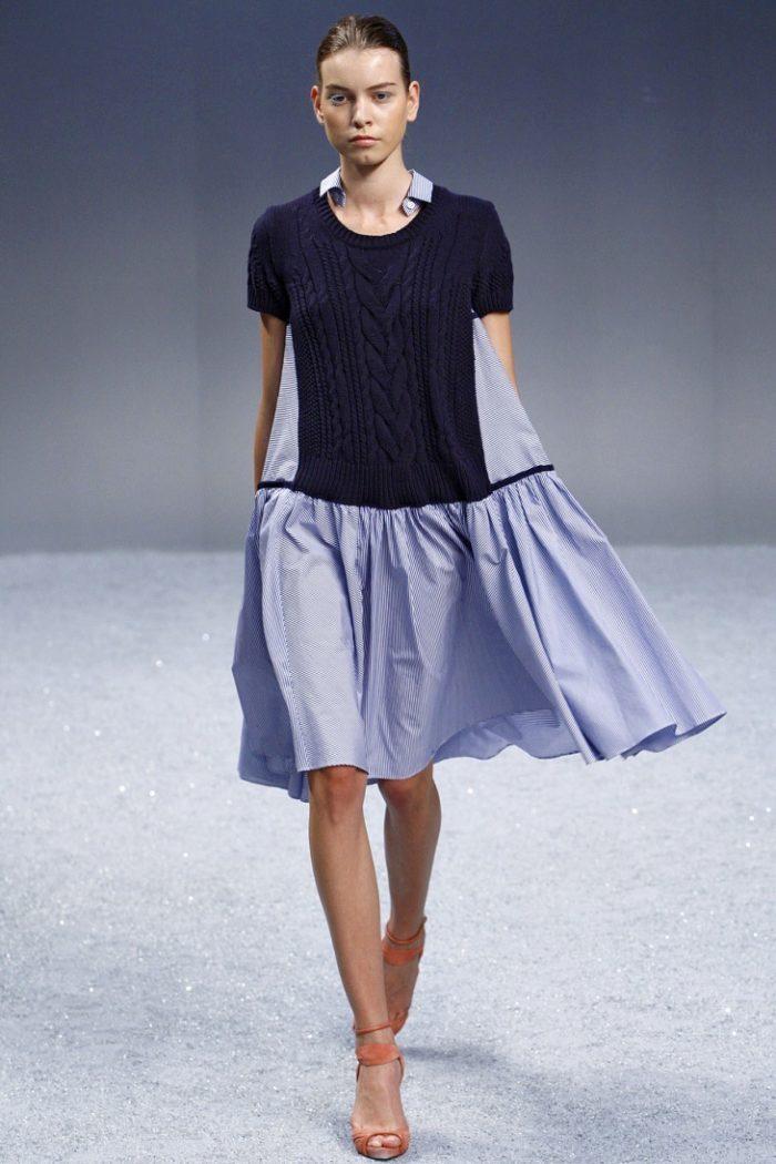 Переделка из свитера с коротким рукавом в платье