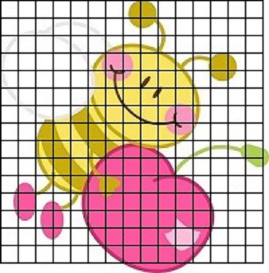 pchela-s-vishnei-dlya-srisovki-po-kletochkam Красивые и легкие рисунки для срисовки карандашом поэтапно для начинающих. Красивые и легкие рисунки по клеточкам для срисовки в тетради и личном дневнике для девочек и мальчиков