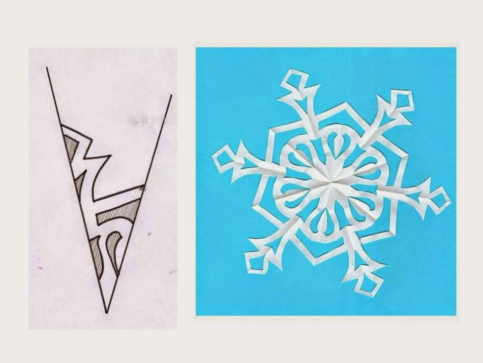 gotovaya-snezhinka-i-shema-risunka-dlya-ee-virezaniya-variant-8 Как вырезать красивые снежинки из бумаги своими руками поэтапно? Как сделать объёмную снежинку оригами?