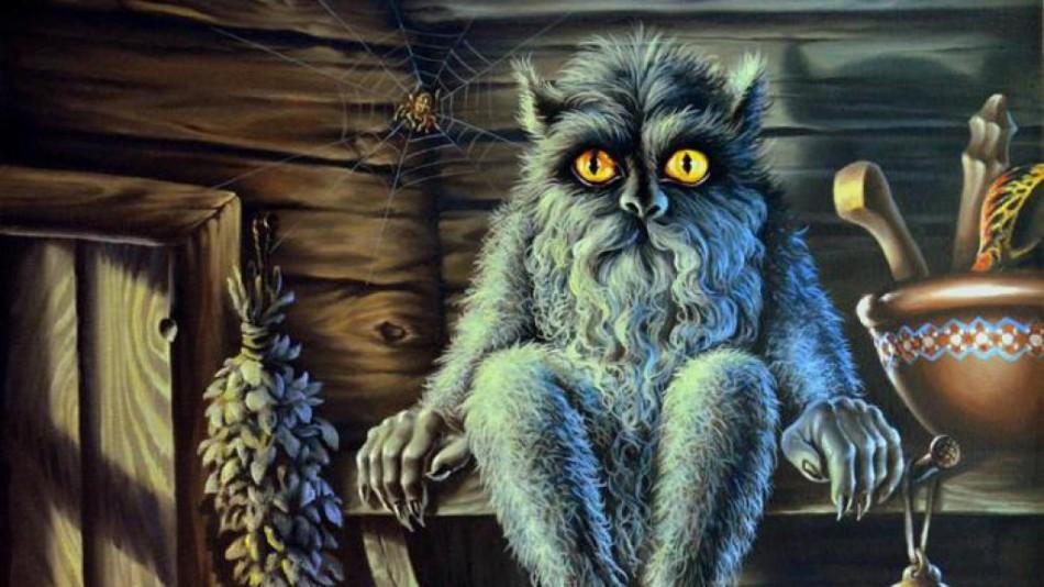Домового описывают, как похожее на кота существо с желтыми глазами.