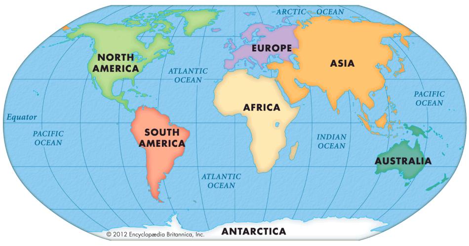 Карта материков и океанов