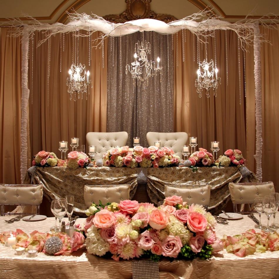 Современное оформление свадебного зала фото