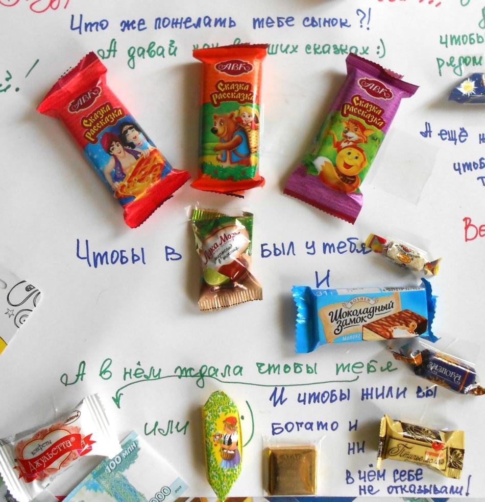 Поздравления плакат из сладостей на день рождения фото 98