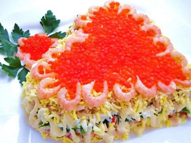 Салат из креветок кальмаров моркови