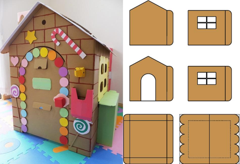 shema-detalei-odnoyetazhnogo-domika-dlya-kukol Домик и мебель для кукол своими руками из картона: схема, выкройка, фото. Как сделать кровать, диван, шкаф, стол, стулья, кресло, кухню, холодильник, плиту, коляску для кукол из картона своими руками