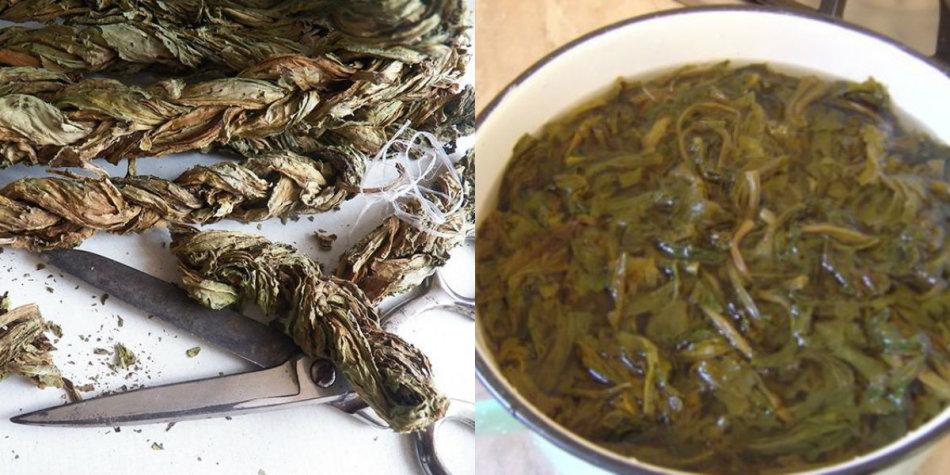 Подготовка сушеного конского щавеля к использованию в кулинарии.
