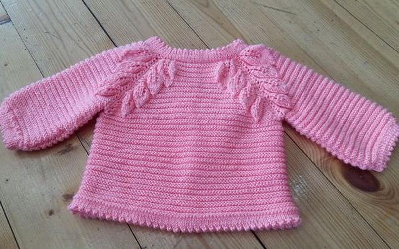 Нарядный розовый свитерок на девочку 1-2 лет