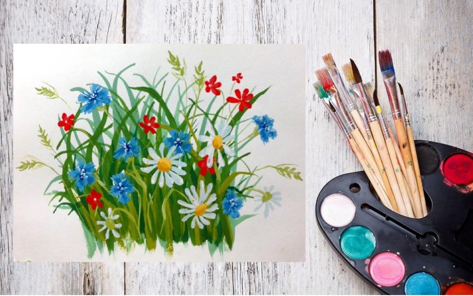 Цветы красками
