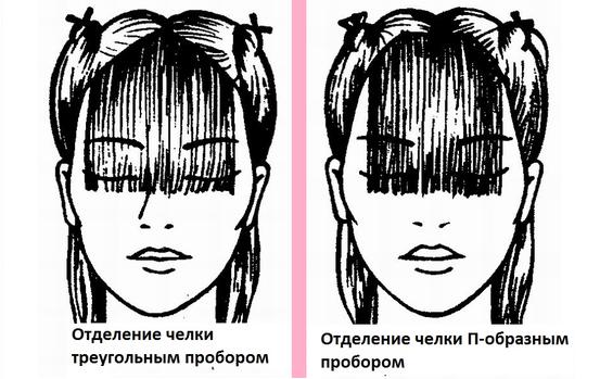 Отделяем волосы для челки