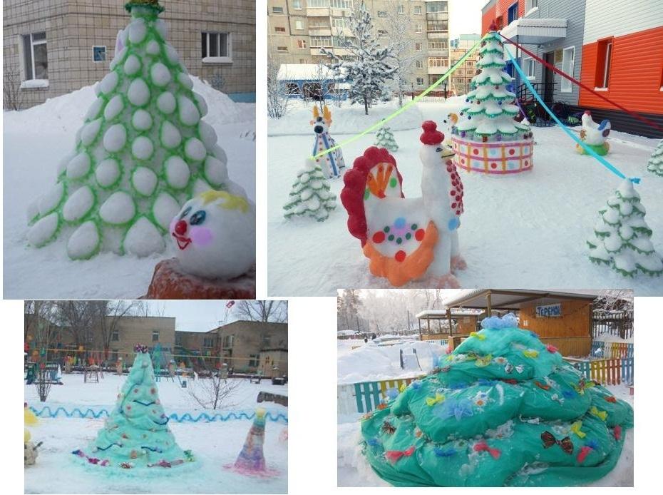 Фото-коллаж их елочек, вылепленных из снега