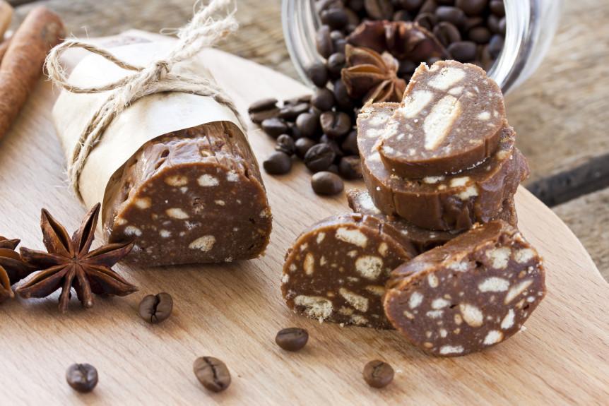 Шоколадная колбаса со сгущённым молоком