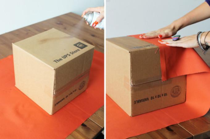 Оборачиваем тканью стенки коробки