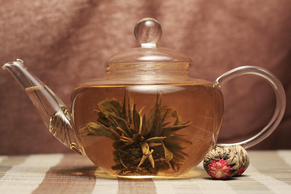 Вот так интересно выглядит зеленый жасминовый чай юй лун тао